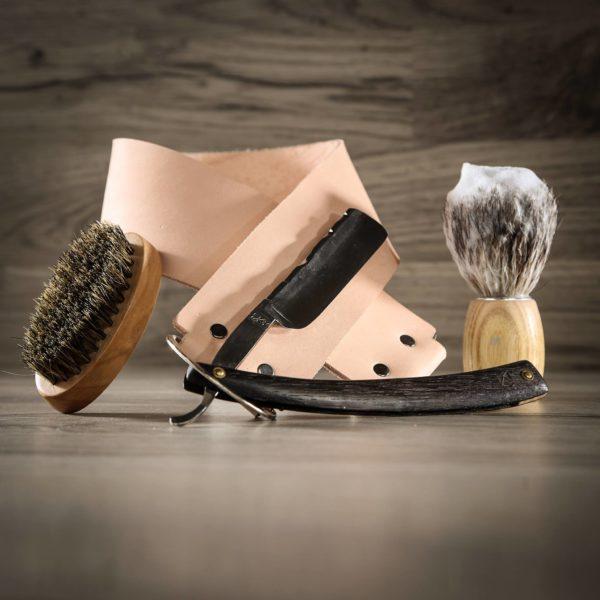 Strop en cuir artisanal rasage ancien