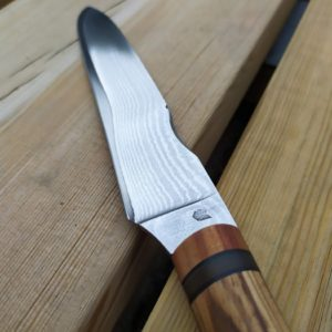 Couteau de cuisine artisanal made in france zebrano prunier corne blonde acier san mai VG10