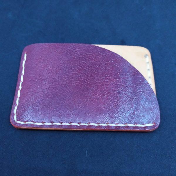 porte carte double face en cuir artisanal fait main