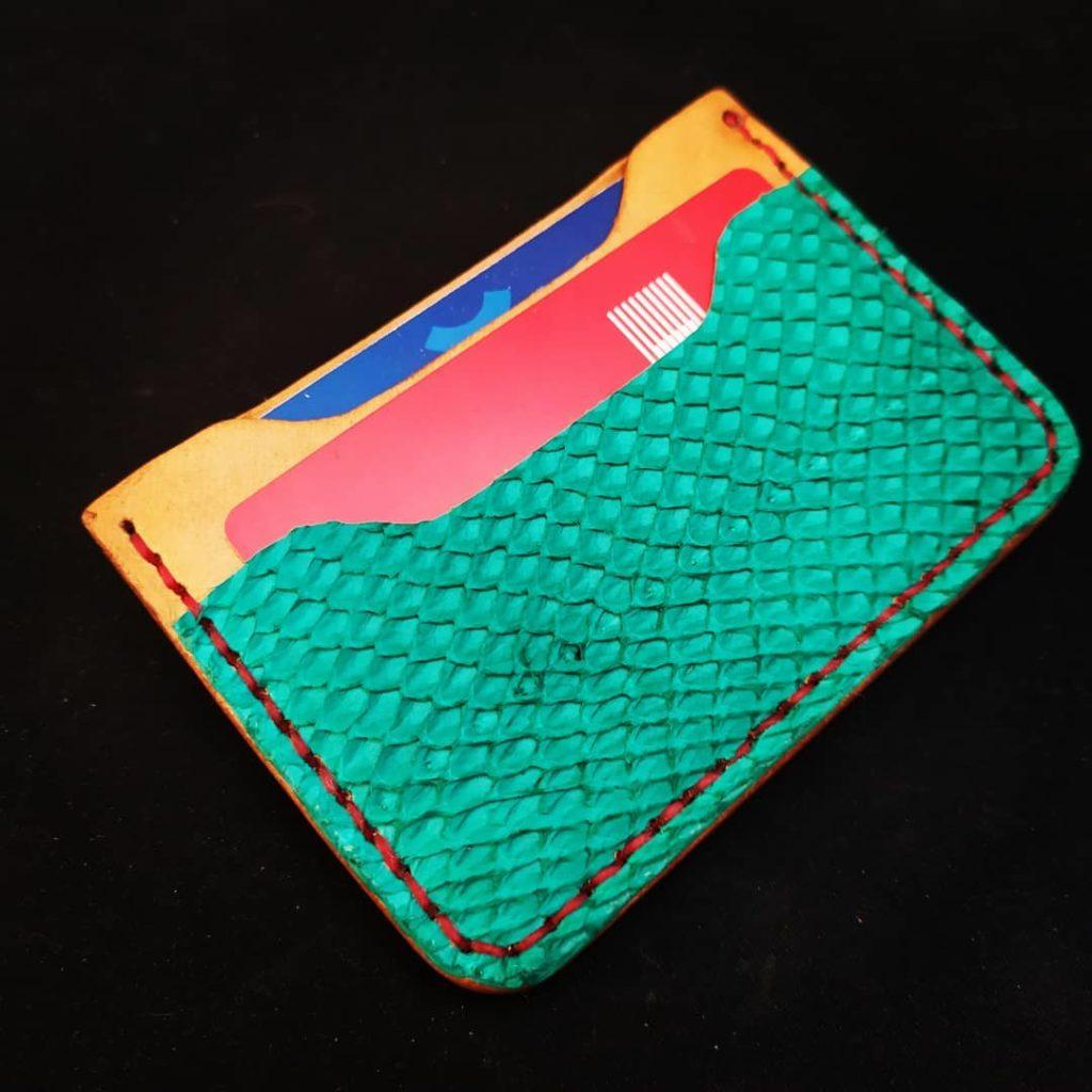 porte carte en cuir marin