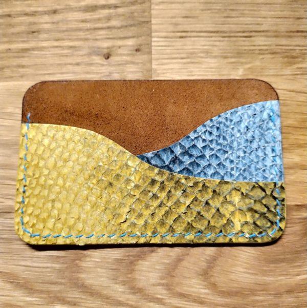 porte carte cuir de saumon